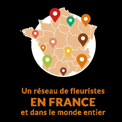 Notre réseau de fleuristes livre partout en France