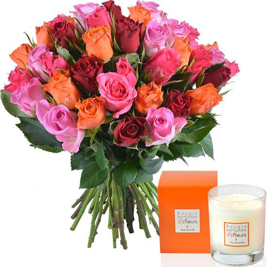 Bougie Parfumée Et Bouquet De Roses 123fleurs