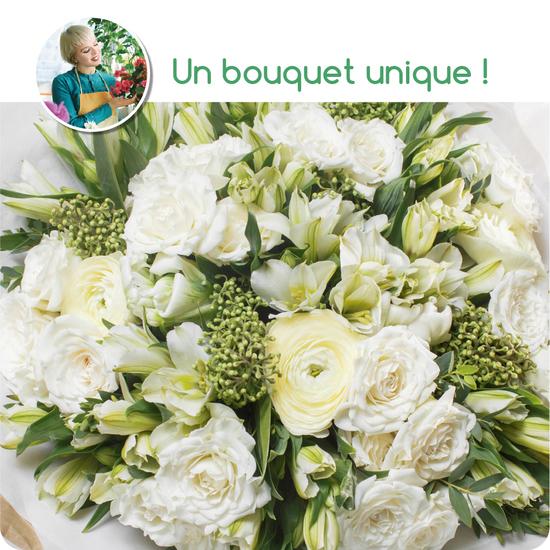 4d1483b4b018 Bouquet du fleuriste tons blancs - Livraison de fleurs