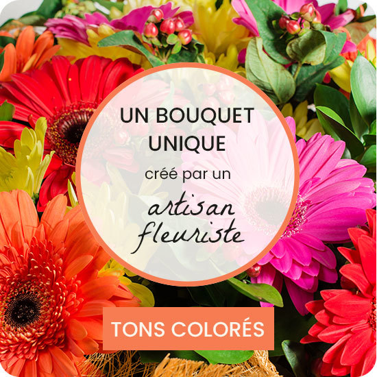 Bouquet fleuriste coloré DOM-TOM