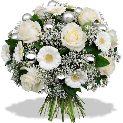 Fleurs en f te bouquet givr livraison en 4h for Bouquet fleurs blanches