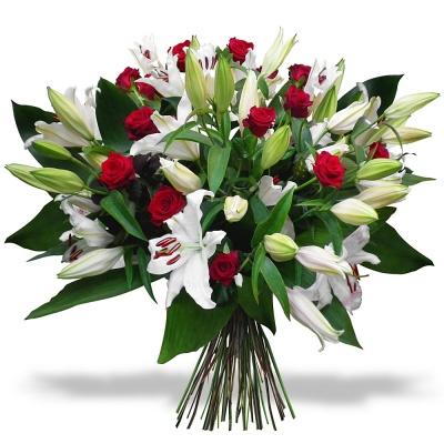 les fleurs deuil bouquet lys et roses imp rial livraison en 4h. Black Bedroom Furniture Sets. Home Design Ideas