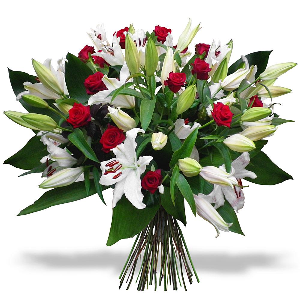 Lys et roses du fleuriste bouquet majest for Fleuriste fleurs