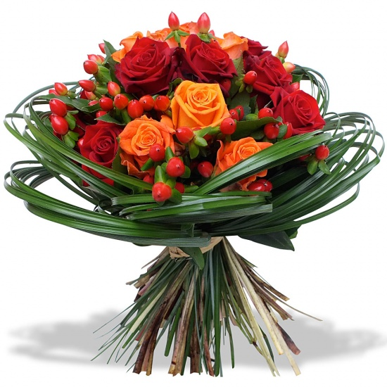 Bouquet roses ardentes for Bouquet de fleurs 70 ans