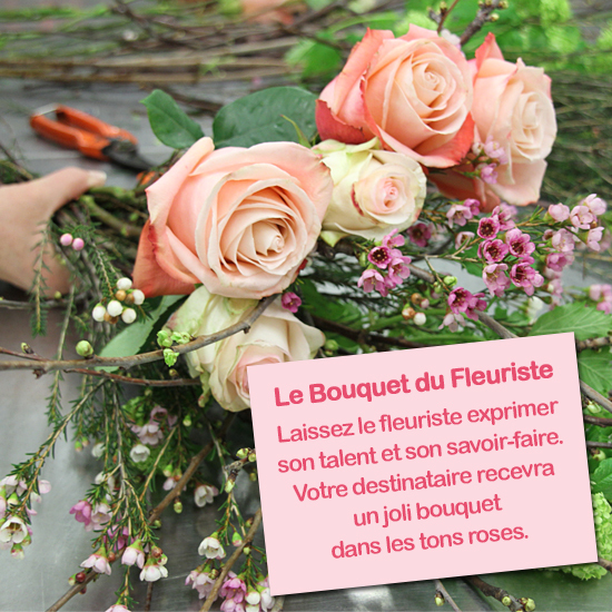 Bouquet talent du fleuriste dans les tons roses for Bouquet fleuriste