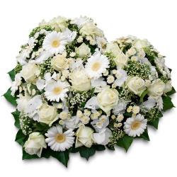 Fleurs deuil livraison gerbes de fleurs obs ques 123fleurs - Coeur en fleurs naturelles ...