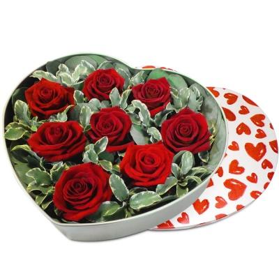 Original fleurs fraiches en boite coeur de passion for Bouquet de fleurs dans une boite