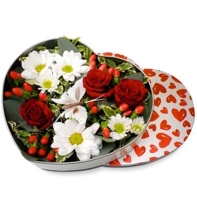 Original fleurs fraiches en boite coeur flamboyant for Bouquet de fleurs dans une boite