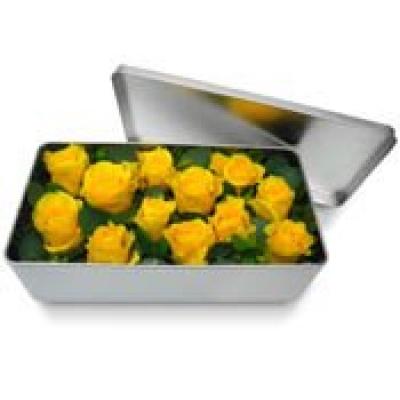 Bouquet de roses en boite l gance de roses jaunes for Bouquet de fleurs dans une boite