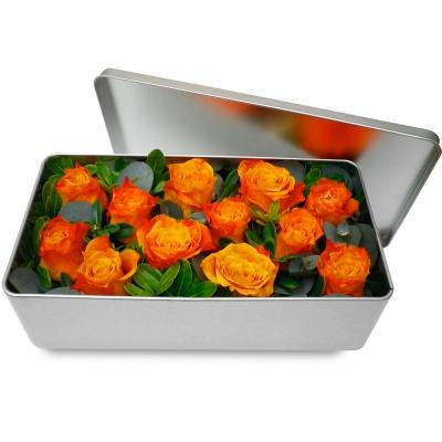 Bouquet de roses en boite l gance de roses oranges for Bouquet de fleurs dans une boite
