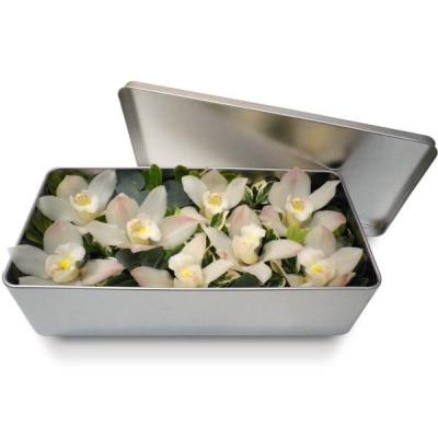 Bouquet d 39 orchid e en boite harmonie exotique blanche for Bouquet de fleurs dans une boite