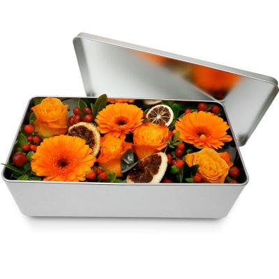 Bouquet de fleurs en boite m li m lo orange livraison en 4h for Bouquet de fleurs dans une boite